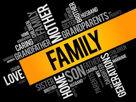Family word cloud collage , social concept background Illusztráció