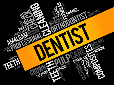 Dentist word cloud collage, health concept background Vectores