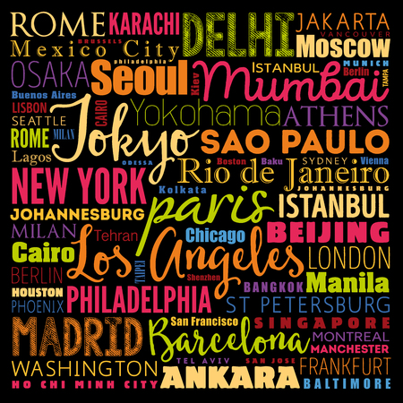 The largest cities in the world word cloud collage, travel destinations concept background Vectores