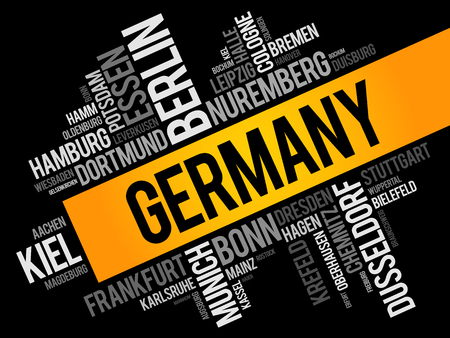 List of cities in Germany, word cloud collage, travel concept background