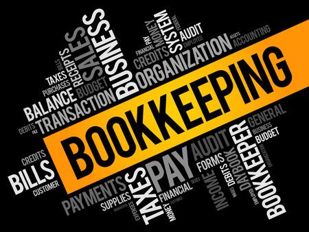 Collage della nuvola di parola di contabilità, priorità bassa di concetto di affari