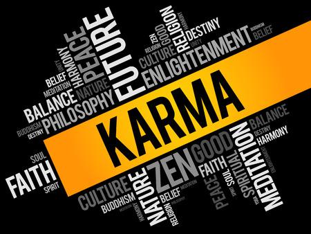 Karma word cloud collage Stock Illustratie