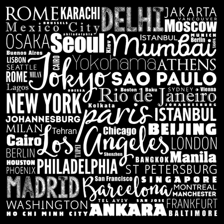 Cities in the World related word cloud collage background  イラスト・ベクター素材