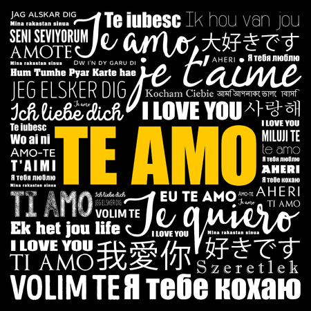 Te amo (I Love You in Spanish) in different languages of the world Ilustração