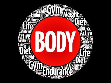 BODY word cloud collage, health concept background