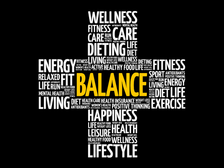 BALANCE word cloud collage, health cross concept