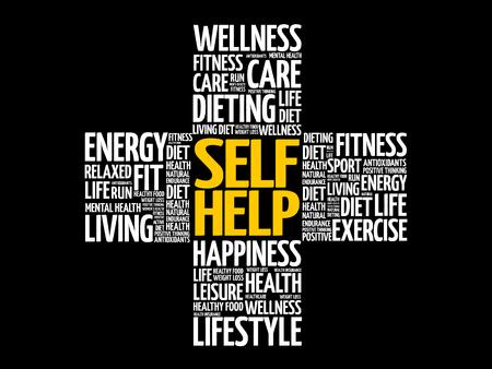 Self Help word cloud, health cross concept background Ilustración de vector
