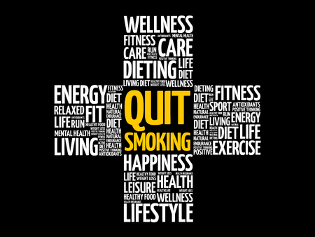 Quit Smoking word cloud, health cross concept