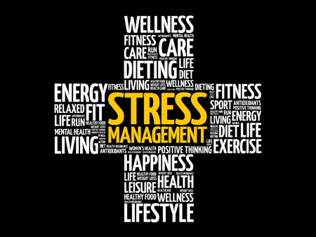 Stress Management word cloud, health cross concept