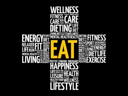 EAT word cloud collage, health cross concept illustration. Illustration