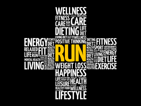 RUN word cloud, health cross concept background.