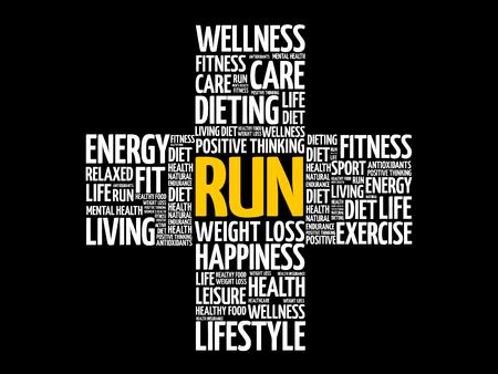 RUN word cloud, health cross concept background.