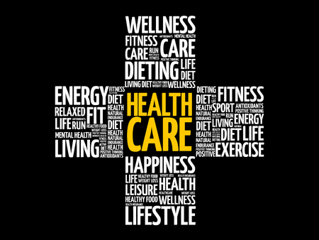 Health care word cloud, health cross concept background. 向量圖像