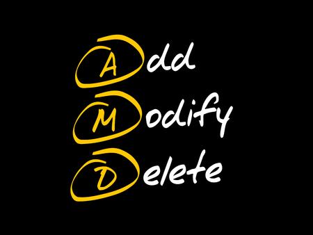 AMD - Add, Modify, Delete, acronym business concept