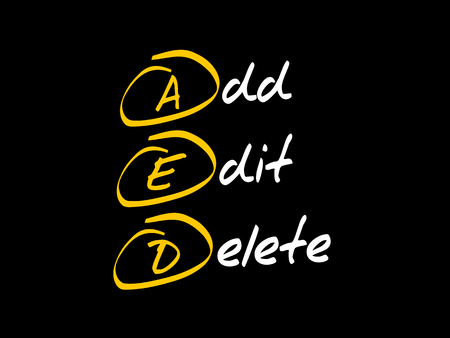 AED - Add, Edit and Delete, acronym business concept Ilustracja