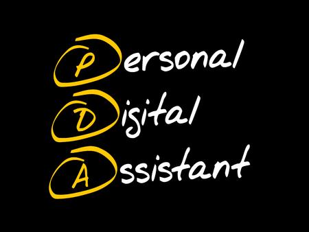 PDA - Personal Digital Assistant, acronym concept Ilustração