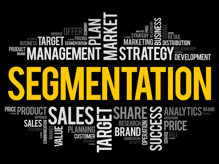 Segmentation word cloud collage, business concept background Stock Illustratie