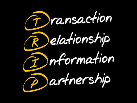 TRIP - Transaction, Relationship, Information, Partnership, acronym business concept