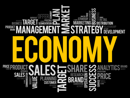 ECONOMY word cloud collage, business concept background