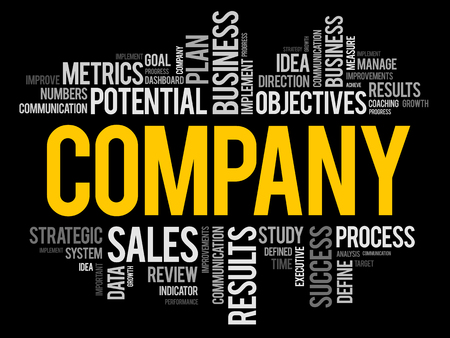 Company word cloud collage background, business concept