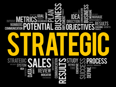 Strategic word cloud collage, business concept background 일러스트