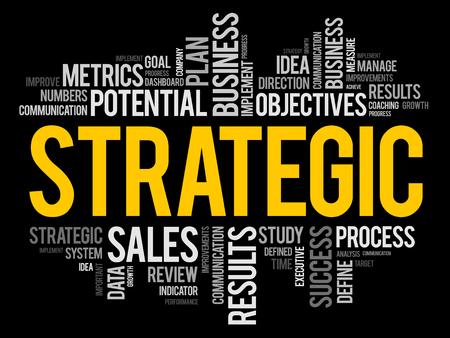 Collage de nube de palabras estratégicas, fondo del concepto de negocio Ilustración de vector