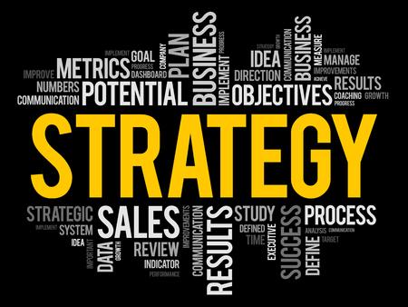 Collage de nube de word de estrategia, fondo del concepto de negocio