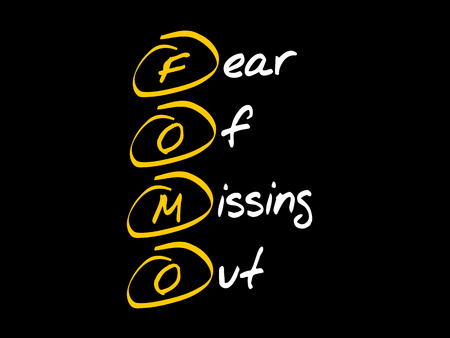 FOMO - Fear Of Missing Out acronym, concept background Stock Vector - 101029321