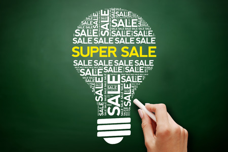 SUPER SALE bulb word cloud collage, business concept on blackboard