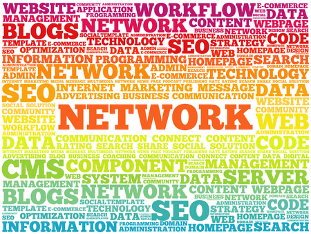 Network word cloud collage, technology business concept background