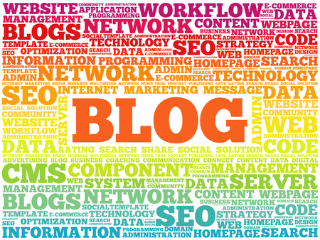 BLOG word cloud collage, technology business concept background