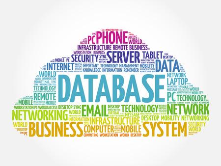 Collage de nuage de mot de base de données, fond de concept d'entreprise Vecteurs