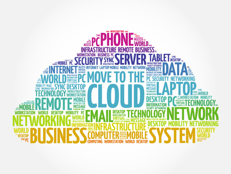 Move to the Cloud word cloud collage, technology concept background