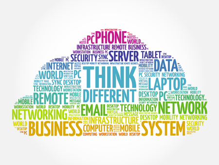 Think Different word cloud collage, business concept background