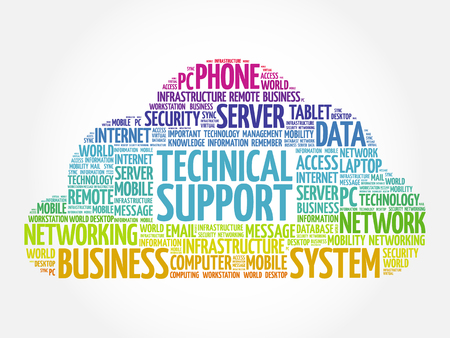 Technical support word cloud collage, technology concept background Illusztráció