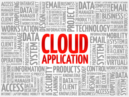 Cloud Application word cloud collage, technology business concept background Illustration