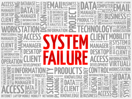 System Failure word cloud collage, technology business concept background Illustration