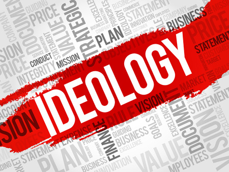 Ideology word cloud collage, business concept background Çizim