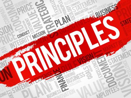 Principios, palabra, nube, collage, concepto de negocio, plano de fondo Ilustración de vector