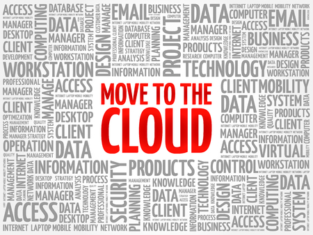 Move to the Cloud word cloud collage, technology business concept background