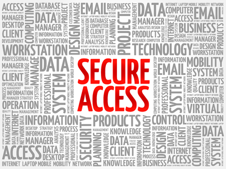 Secure Access word cloud collage, technology business concept background