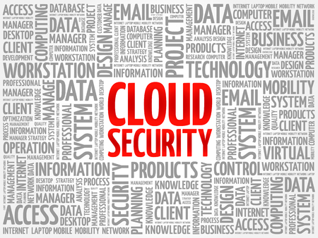 Cloud Security word cloud collage, technology business concept background Illustration