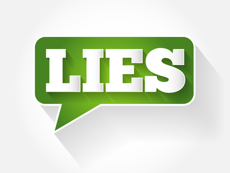 LIES text message bubble, flat business concept background