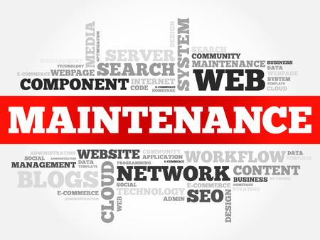 Maintenance word cloud, technology business concept background Ilustracje wektorowe