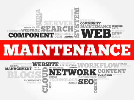 Nuage de mot de maintenance, fond de concept de technologie entreprise Vecteurs