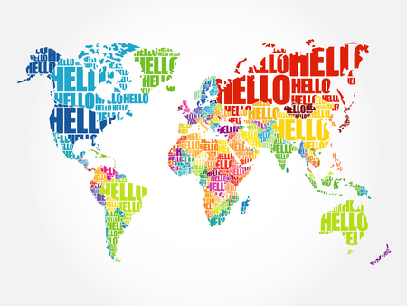 HELLO Word Cloud World Map in Typography, background concept