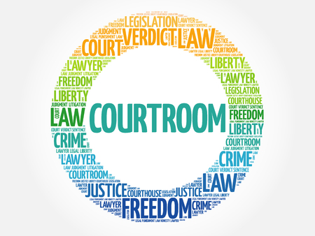 Courtroom word cloud concept background Illustration