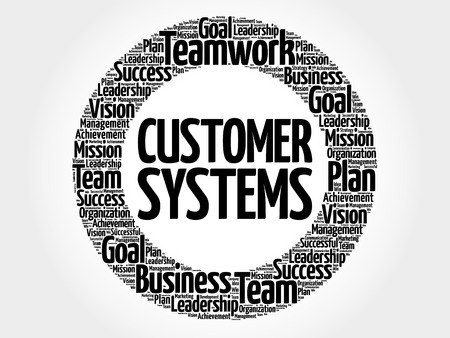 Customer Systems circle word cloud, business concept Ilustrace