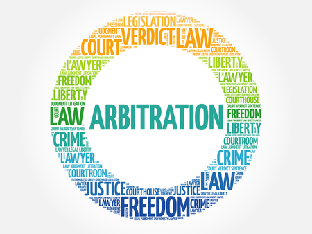 Arbitration word cloud concept background