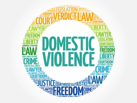 Huiselijk geweld word cloud concept achtergrond Vector Illustratie